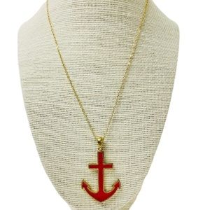 Nautical Red & Gold Anchor Pendant Necklace